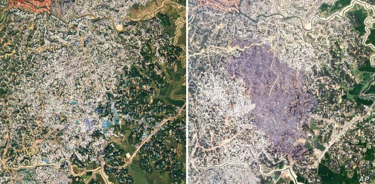 This combination of Nov. 12, 2020, left, and March 23, 2021, satellite images provided by Planet Labs Inc shows Balukhali…