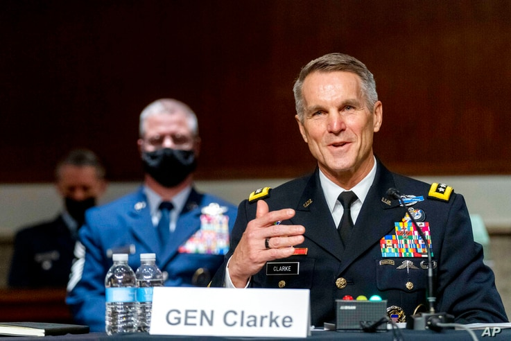 Special Operations Command Gen. Richard Clarke speaks at a hearing to examine United States Special Operations Command and…