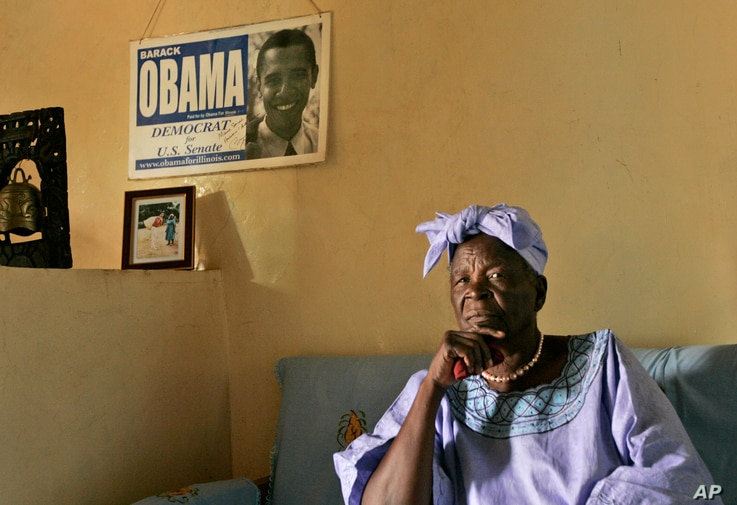 FILE - Sarah Obama,sits in the living room of her house in the village of Kogelo, near the shores of Lake Victoria, in western Kenya.