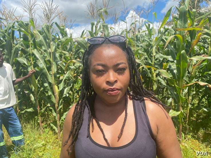 Diana Samkange-Nyazema, an award-winning Zimbabwean singer, is seen at her farm in Mazowe district, about an hour's drive west of Harare, March 18, 2021. (Columbus Mavhunga/VOA)