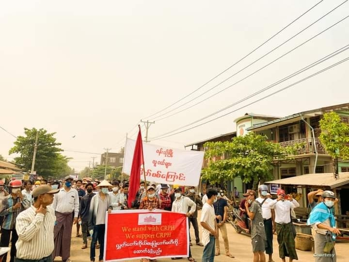 Anti-coup protesters march in Wuntho, a small town of Kawlin District in Sagaing Region, Myanmar, March 21, 2021.