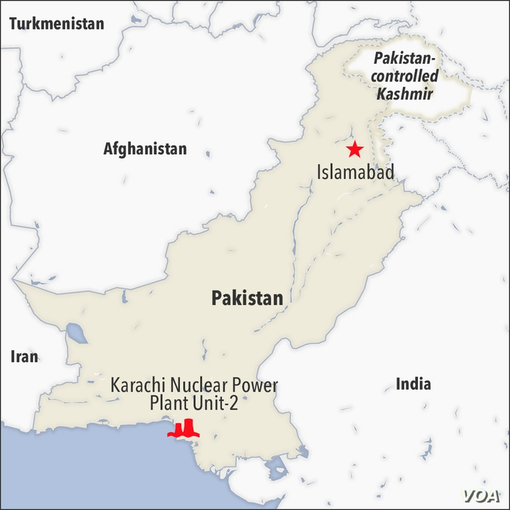 Map of Pakistan showing the location of the Karachi Nuclear Power Plant