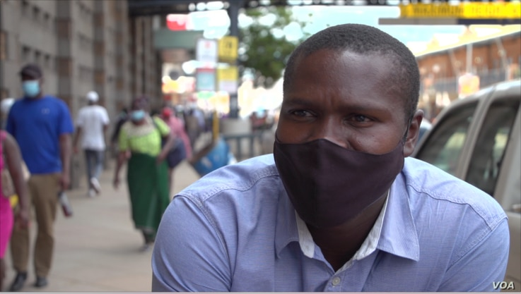 Slyvester Mupfururi (March 8, 2021) an informal trader in Harare says an informal sector of electronic exchange of foreign currency for the local currency, or in some cases, the other way around is booming in Zimbabwe ((Columbus Mavhunga/VOA))