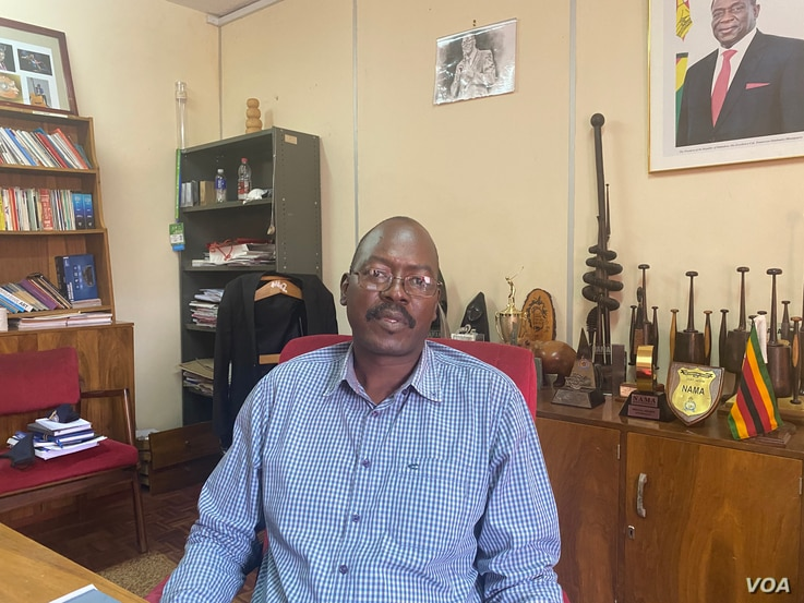 Nicholas Moyo, executive director of Zimbabwe's National Arts Council, is seen in Harare, January 2021. (Columbus Mavhunga/VOA)