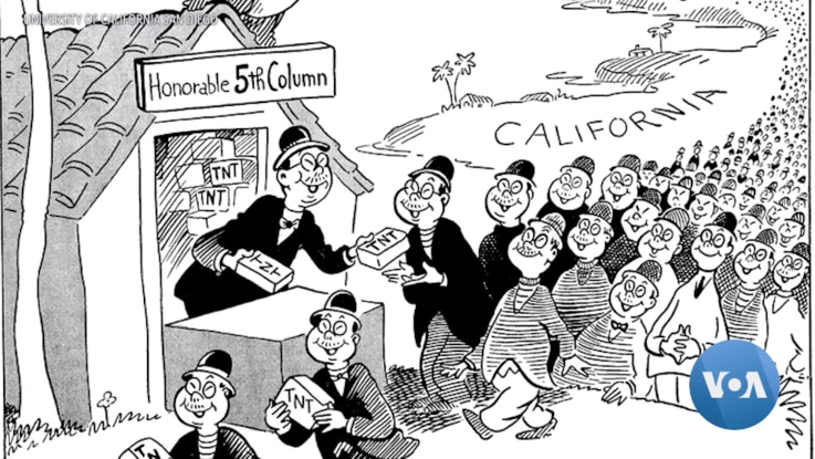 """""""Waiting for the Signal from Home,"""" a political cartoon by Dr. Seuss, caricatured Japanese Americans and questioned their patriotism. (University of California San Diego)"""