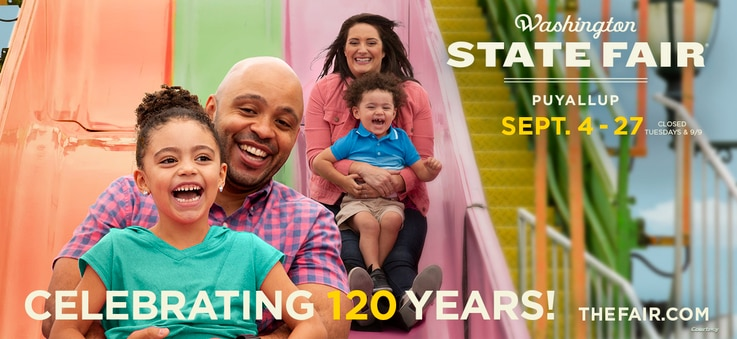 Billboard for the Washington State Fair features a real interracial family. (Courtesy Jones Advertising/Jim Linna Photography 2020)