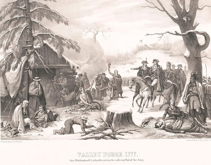 Valley Forge, 1777. Gen. Washington and Lafayette visiting the suffering part of the army. Painted and drawn by A. Gibert. (Library of Congress)