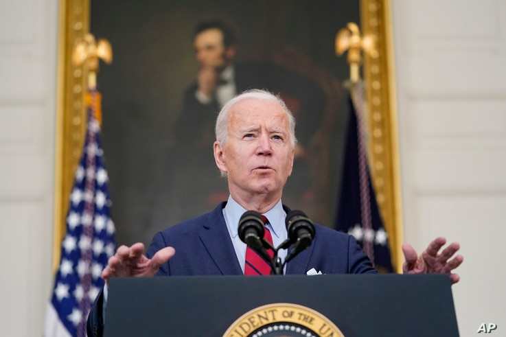 President Joe Biden speaks about the shooting in Boulder, Colorado, March 23, 2021, in the State Dining Room of the White House in Washington.