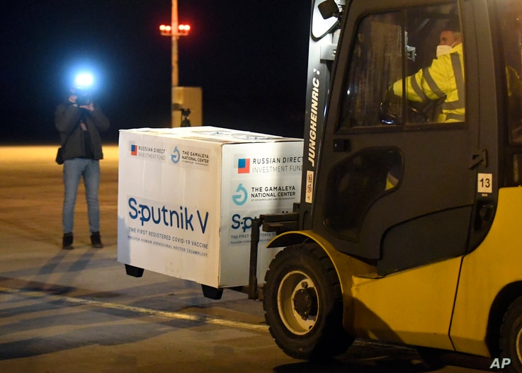 FILE - A shipment of Russia's Sputnik COVID-19 vaccine arrives at Kosice Airport, Slovakia, March 1, 2021.
