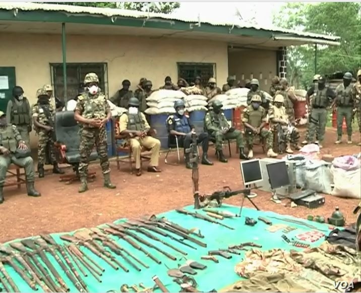 Cameroon military displaying weapons seized from separatists in Bamenda, March 4, 2021.