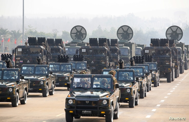 Military vehicles are seen on display in a parade on Armed Forces Day, in Naypyitaw, Myanmar, March 27, 2021.