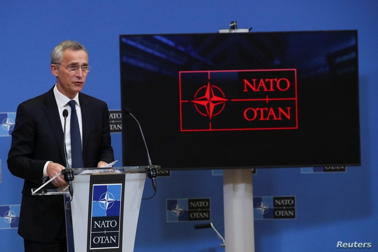 NATO Secretary General Jens Stoltenberg holds a news conference during a NATO Foreign Ministers' meeting at the Alliance's headquarters in Brussels, Belgium, March 23, 2021.