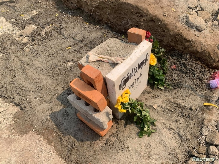 A grave of 19-year-old protester, Kyal Sin, is pictured in Mandalay, Myanmar, Match 6, 2021, in this picture obtained from social media.