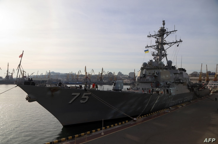 US missile destroyer USS Donald Cook (DDG-75) is docked in the Ukrainian Black Sea port of Odessa, after it was moored early...