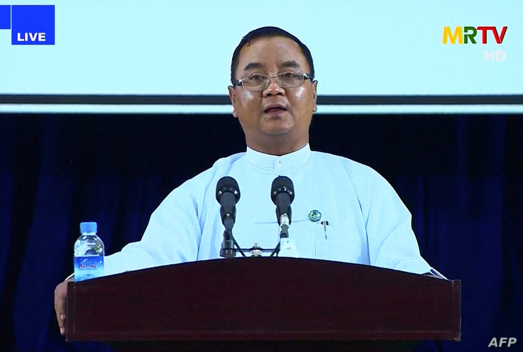 This screengrab provided via AFPTV and taken from a broadcast by Myanmar Radio and Television (MRTV) in Myanmar on April 9,…