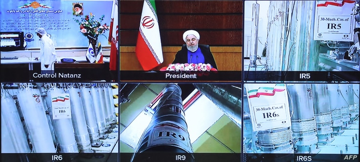 A handout picture provided by the Iranian presidential office on April 10, 2021, shows a screen grab from a videoconference...