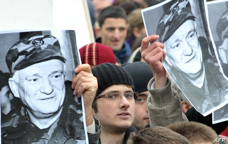 Citizens of Sarajevo protest in front of the building of the EU Special Representative office building in Sarajevo, to show...