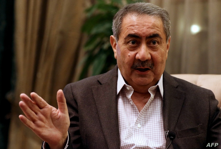 Hoshyar Zebari, former foreign minister of Iraq, speaks during an interview with AFP in Arbil, the capital of the autonomous...
