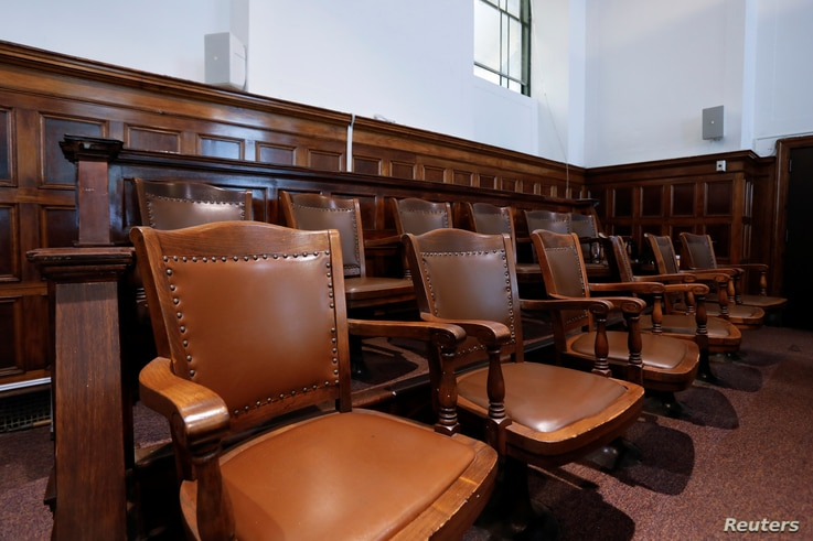 An empty jury box at the New York State Civil Supreme Court in New York City, September 11, 2020.