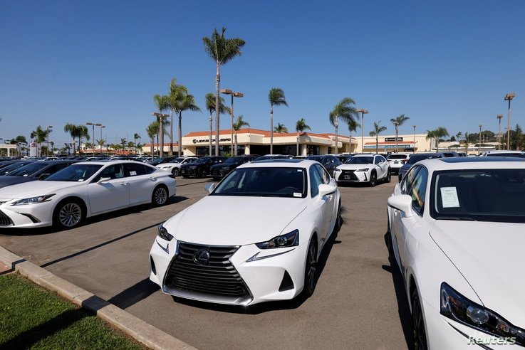 New Lexus automobiles are shown for sale after California Governor Gavin Newsom announced the state will ban the sale of new...