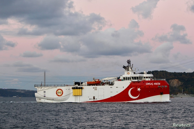 FILE PHOTO: Turkish seismic research vessel Oruc Reis sails in the Bosphorus in Istanbul, Turkey, November 12, 2018. Picture...