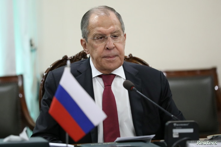 Russia's Foreign Minister Sergei Lavrov attends a meeting with his Pakistani counterpart Shah Mehmood Qureshi in Islamabad,…
