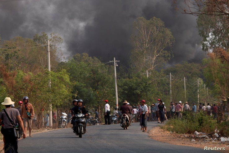 Demonstrators are seen before a clash with security forces in Taze, Sagaing Region, Myanmar April 7, 2021, in this image…
