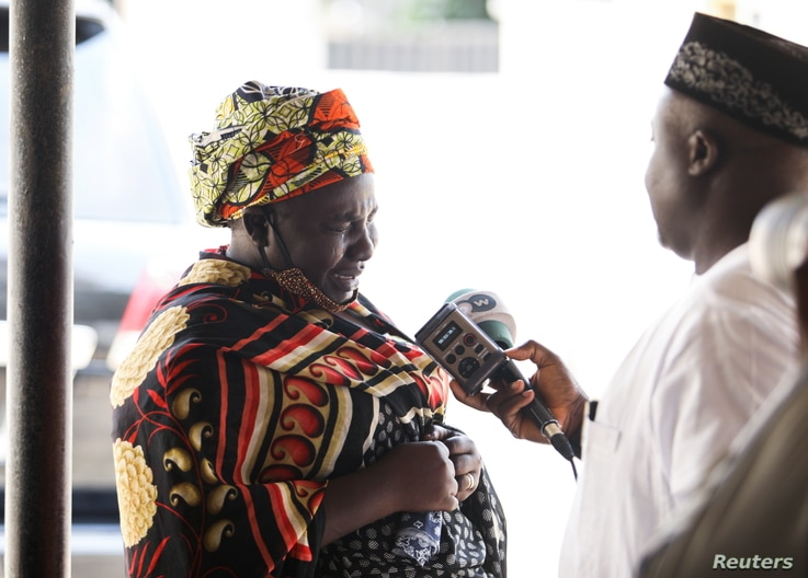 Rebecca Samuel, mother of Sarah one of the abducted Chibok girls cries during the 7th anniversary in Abuja, Nigeria April 14,...