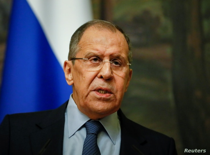 Russian Foreign Minister Sergei Lavrov attends a news conference following a meeting with Serbian Foreign Minister Nikola…