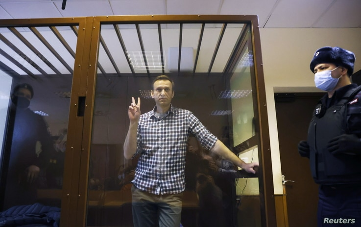 FILE - Russian opposition leader Alexei Navalny attends a hearing to consider an appeal against an earlier court decision.