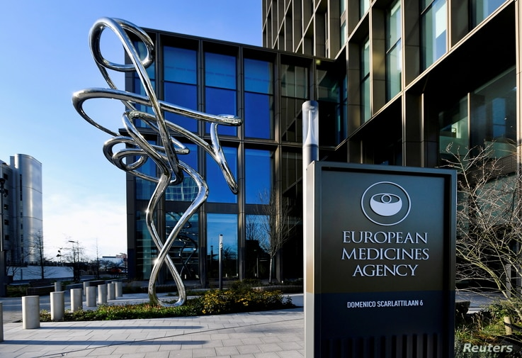 FILE PHOTO: The exterior of the European Medicines Agency is seen in Amsterdam, Netherlands, December 18, 2020. REUTERS…