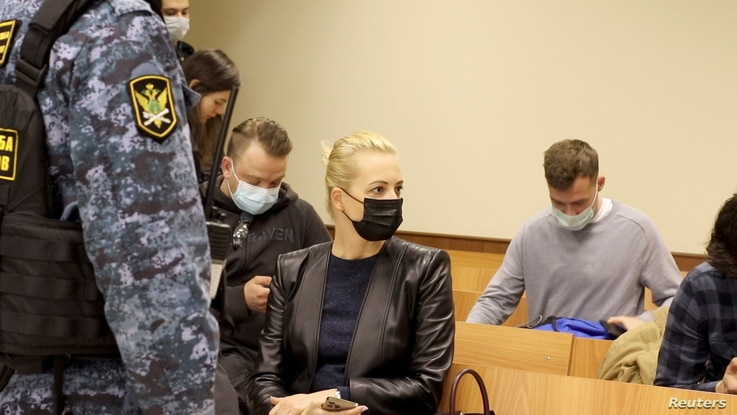 Yulia Navalnaya, wife of Russian opposition leader Alexei Navalny, is seen in a courtroom before a hearing to consider an…