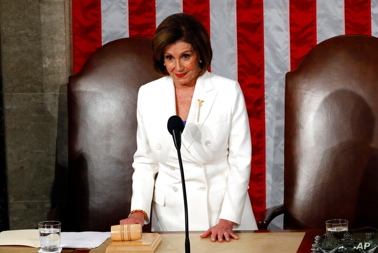 House Speaker Nancy Pelosi of Calif., waits before President Donald Trump arrives to deliver his State of the Union address to…