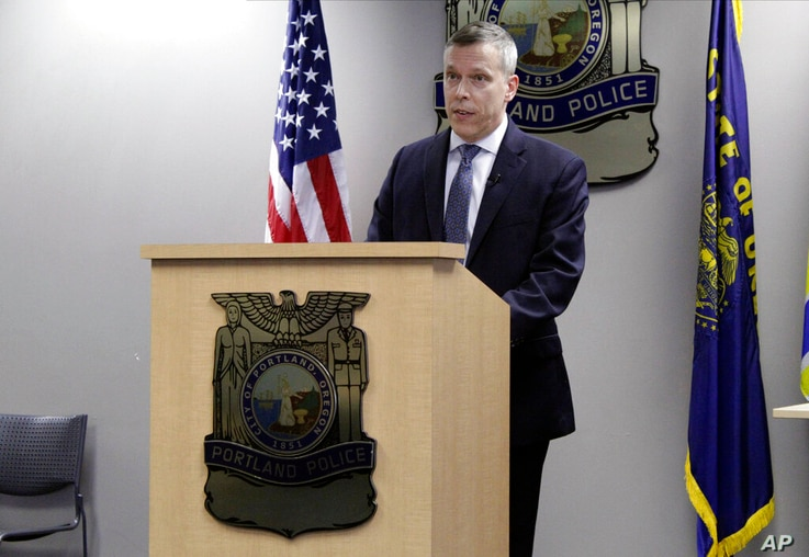 Portland Deputy Police Chief Chris Davis speaks during a news briefing about violent protests that have marred Oregon's largest...