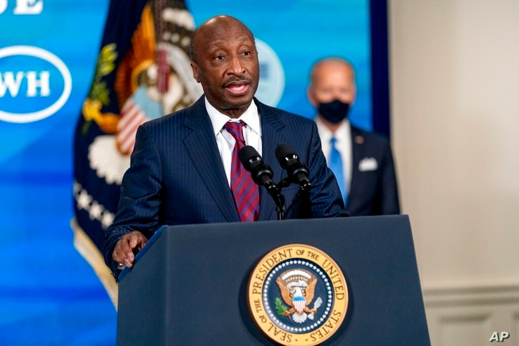 Merck Chairman and CEO Kenneth Frazier, left, accompanied by President Joe <a href=