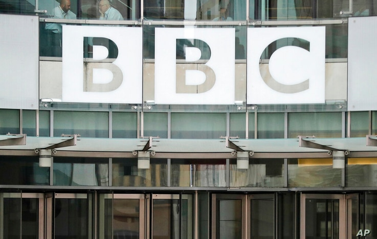FILE - In this file photo dated Wednesday, July 19, 2017, The BBC sign outside the entrance to the headquarters of the publicly…