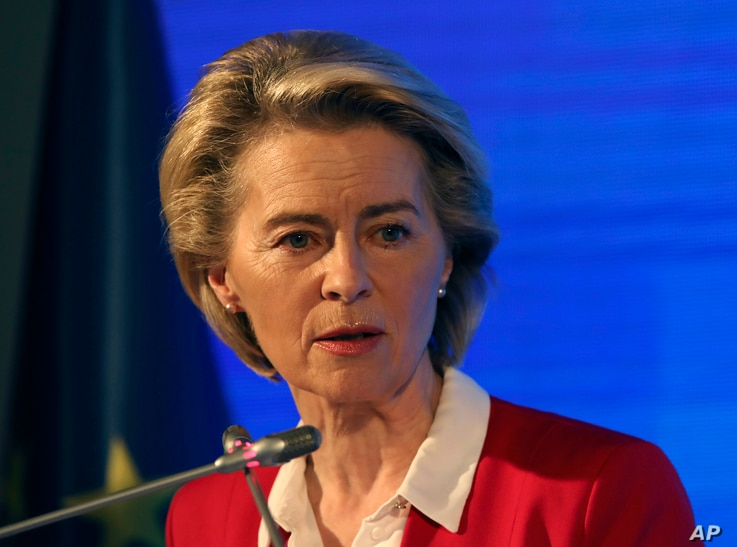 European Commission President Ursula von der Leyen speaks during a joint news conference with EU Council President Charles...
