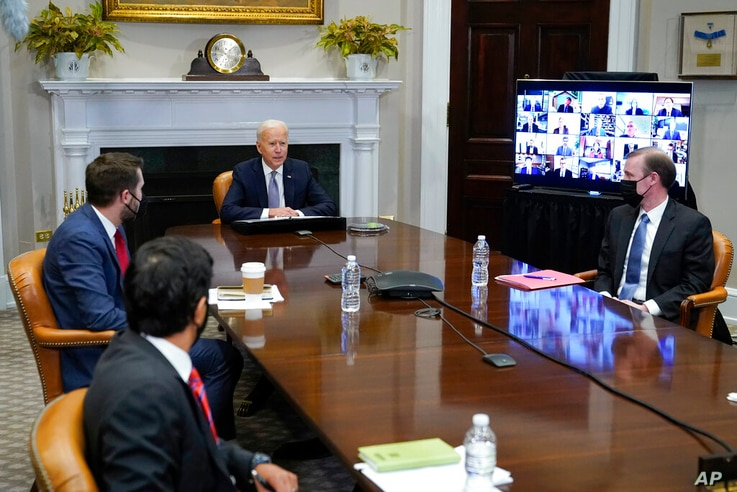 President Joe Biden participates virtually in the CEO Summit on Semiconductor and Supply Chain Resilience in the Roosevelt Room...