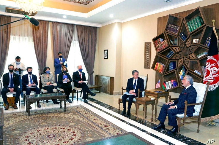 Abdullah Abdullah, Chairman of the High Council for National Reconciliation, right, meets with U.S. Secretary of State Antony...