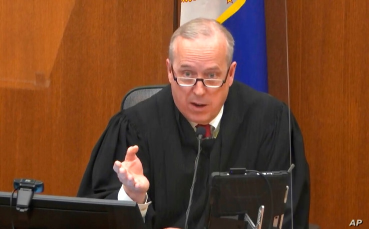 In this image from video, Hennepin County Judge PeterCahill discusses motions before the court Thursday, April 15, 2021, in…