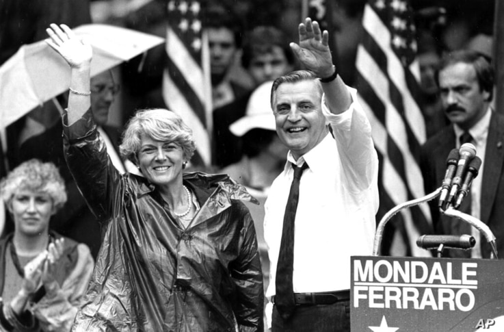 FILE - In this Wednesday, Sept. 5, 1984, file photo, Democratic presidential candidate Walter Mondale and his running mate,...