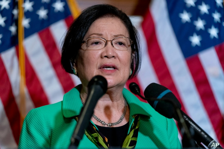 Sen. Mazie Hirono, D-Hawaii, speaks at a news conference after the Senate passes a COVID-19 Hate Crimes Act on Capitol Hill,...