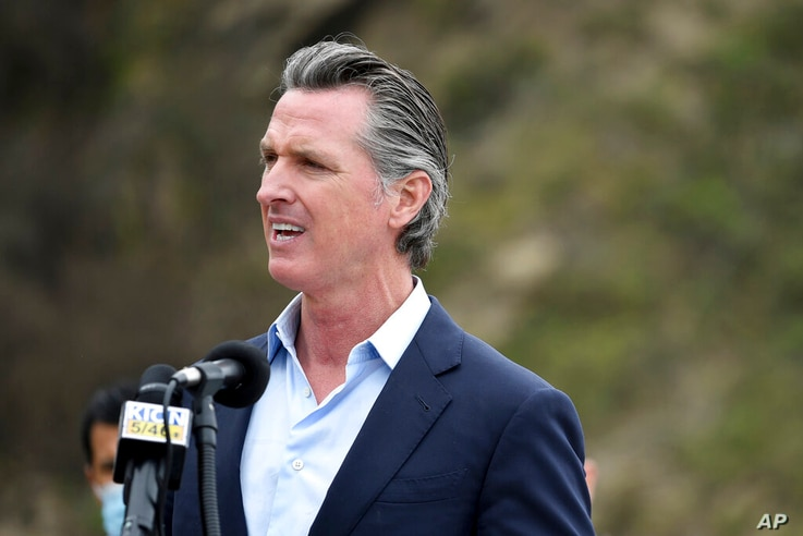 FILE - In this April 23, 2021, file photo, California Gov. Gavin Newsom speaks during a press conference about the newly...