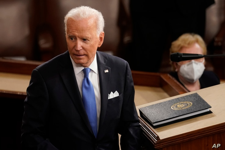 President Joe Biden turns from the podium after speaking to a joint session of Congress, April 28, 2021, in the House.