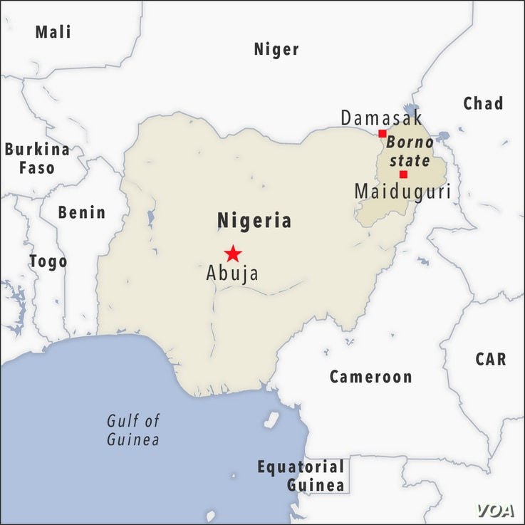 Map of Damasak Nigeria