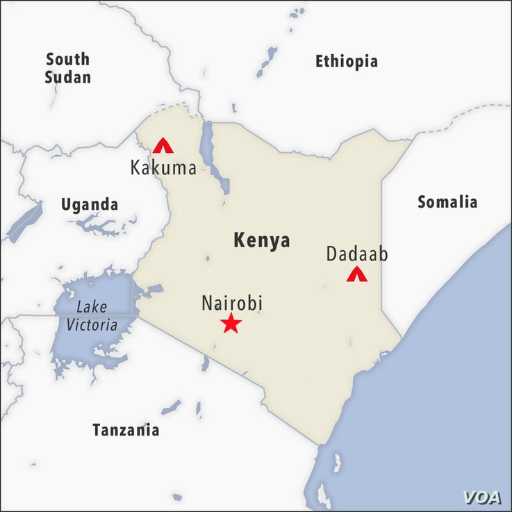 Map of Kakuma and Dadaab camps, Kenya