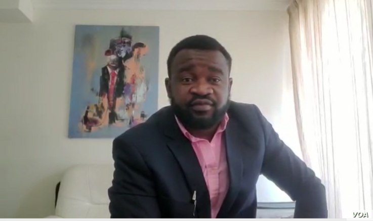 New York-based art dealer Shingirai Mafara says he wants to hold an art exhibition to display the work of his fellow Zimbabwean David Ngwerume for a wider reach, April 23, 2021.  (Columbus Mavhunga/SKYPE/VOA)