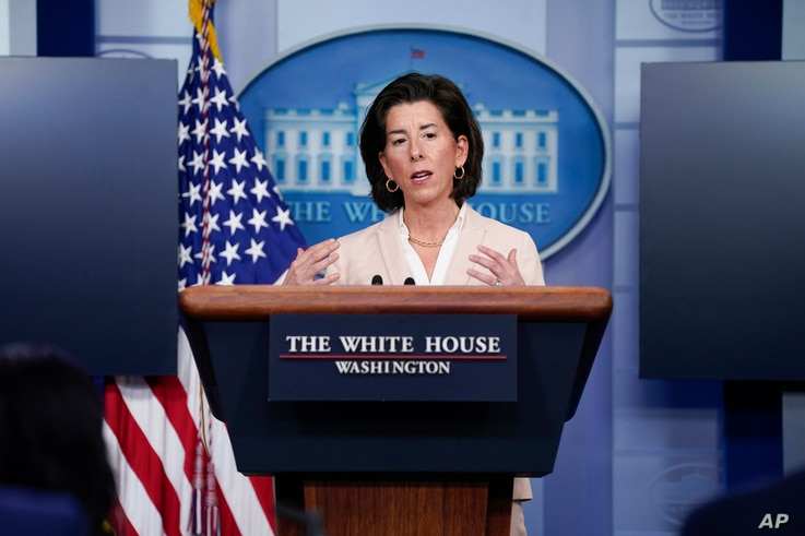 Commerce Secretary Gina Raimondo speaks during a press briefing at the White House, in Washington, April 7, 2021.