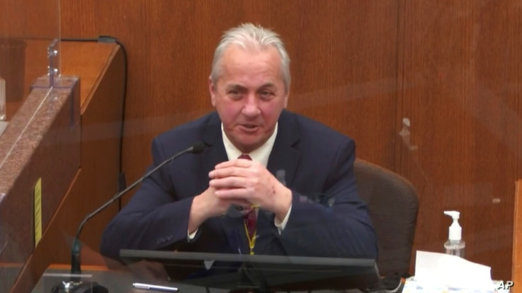 In this image from video, witness Lt. Richard Zimmerman of the Minneapolis Police Department, testifies at the trial of former Minneapolis police Officer Derek Chauvin at the Hennepin County Courthouse in Minneapolis, Minnesota, April 2, 2021.