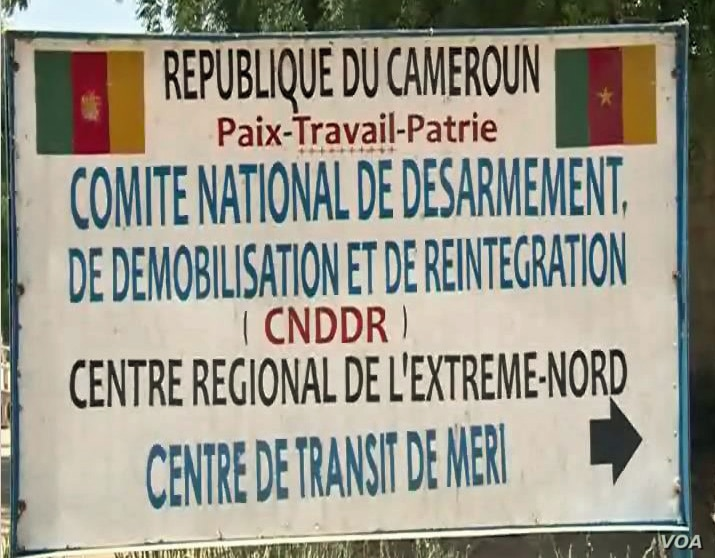 A sign for the CNDDR Center (National Committee for Disarmament, Demobilization and Reintegartion, is seen in Meri, Cameroon, April 9, 2021. (Moki Edwin Kindzeka/VOA)